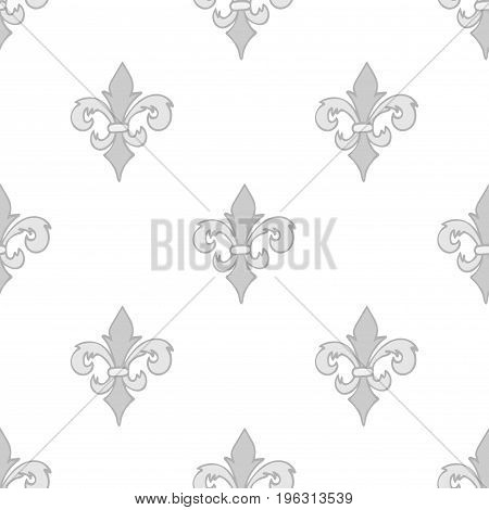 Colorful seamless pattern with gray hand drawn doodle royal floral ornament on white. French fleur-de-lis element. Flourish damask infinity background. Vector illustration.