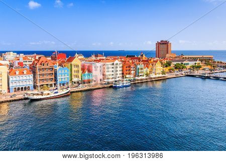 Curacao, Netherlands Antilles.View of downtown Willemstad in Curacao.