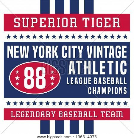 graphic design superior  tiger new york vintage for shirt and print