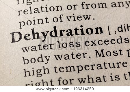 Fake Dictionary Dictionary definition of the word Dehydration. including key descriptive words.