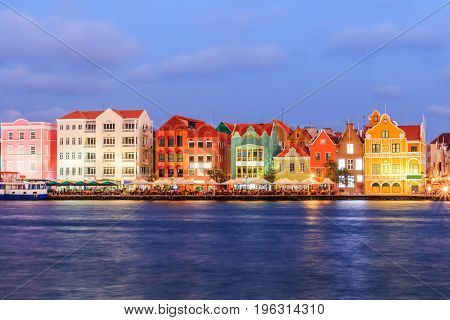 Curacao Netherlands Antilles.View of downtown Willemstad at twilight.