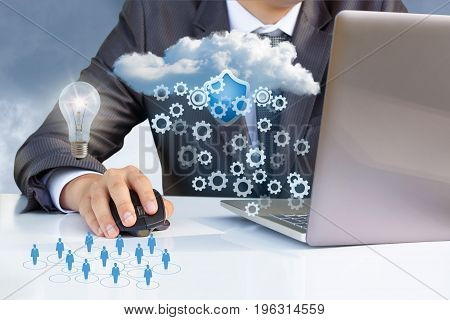 Businessman Working With Cloud Data On The Laptop.