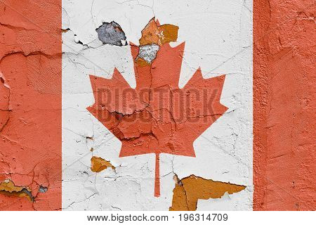 Canadian Flag Painted On A Brick Wall. Flag Of Canada. Textured Abstract Background