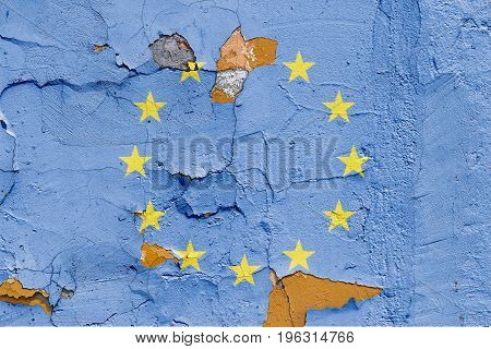 European Union Flag Painted On A Brick Wall. Flag Of European Union. Textured Abstract Background
