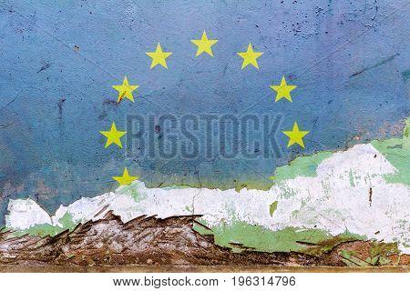European Union Flag Painted On A Concrete Wall. Flag Of European Union. Textured Abstract Background