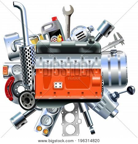 Vector Engine with Truck Spares isolated on white background