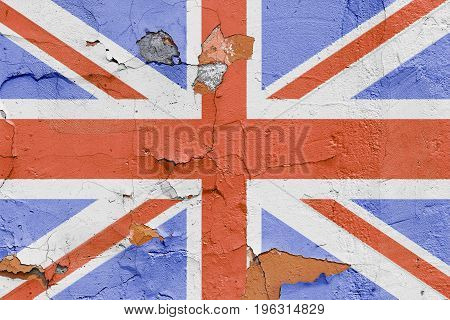 Great Britain Flag Painted On A Brick Wall. Flag Of United Kingdom. Textured Abstract Background