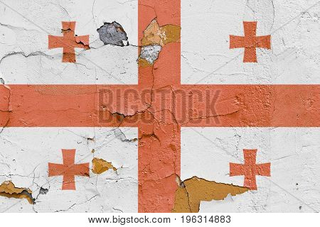 Georgian Flag Painted On A Brick Wall. Flag Of Georgia. Textured Abstract Background