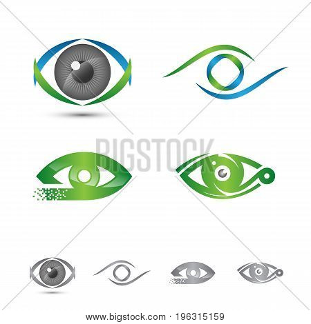 Set of logos and icons of eye vector logo concept. Colorful graphic. Vector illustration Eps.8 Eps.10