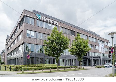 Hamburg , Germany - July 15, 2017: The company Hermes is organizing their business from the headquarter in the city of Hamburg, Germany, Europe