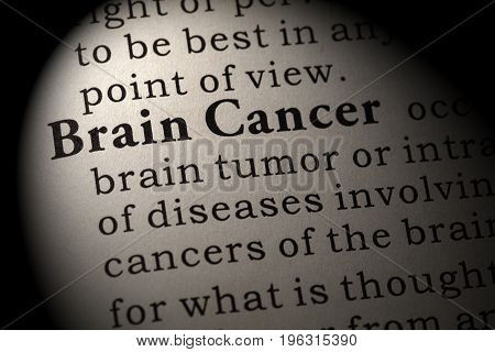 Fake Dictionary Dictionary definition of the word Brain Cancer. including key descriptive words.