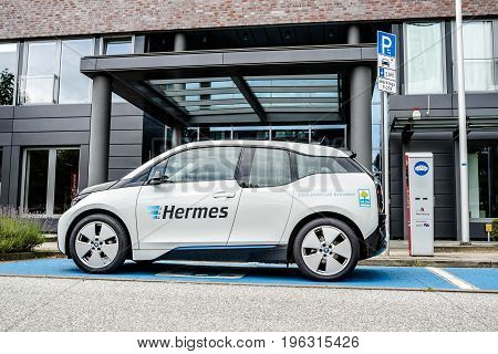 Hamburg , Germany - July 15, 2017: The company Hermes is u sing E-Cars in their headquarter in the city of Hamburg, Germany, Europe