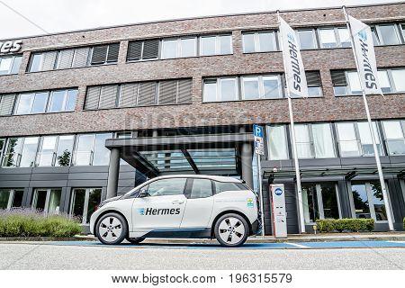 Hamburg , Germany - July 15, 2017: The company Hermes is u sing E-Cars in their headquarter in the city of Hamburg, Germany, Europe