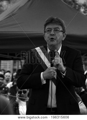 Portrait of Jean-Luc Mélenchon, french deputy and creator of