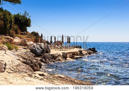 The sea in the Saint Nicholas island Porec. Istria peninsula in Croatia