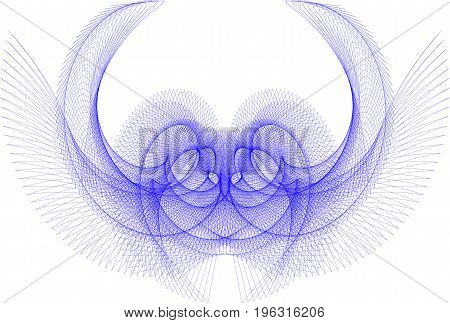 geometric repeating pattern of thin lines of dark blue reminiscent of the mystical bird on isolated white background