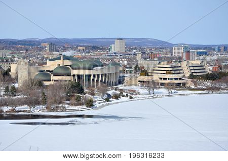 Gatineau Skyline and Canadian Museum of History in winter, viewed from Ottawa, Quebec, Canada.