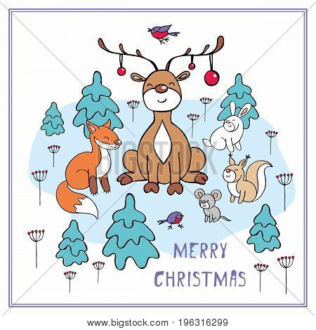 Cheerful Christmas greeting card with the image of a ridiculous deer and woodland animals.
