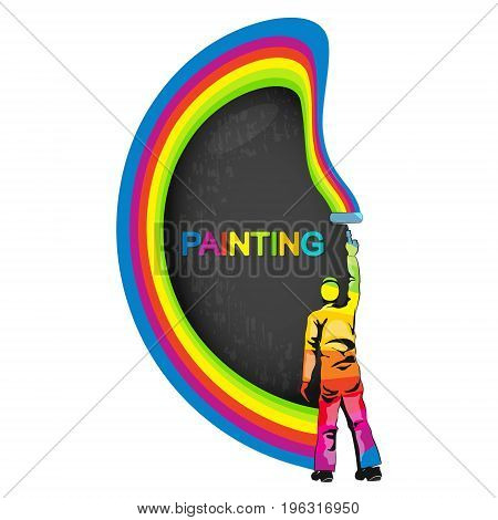 Painter with a multicolored paint vector illustration