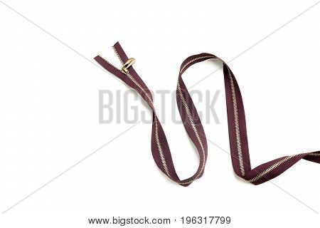 Clothes brown zipper closed positions. Zipper like clothing mouth concept. Zippers isolated on white background.