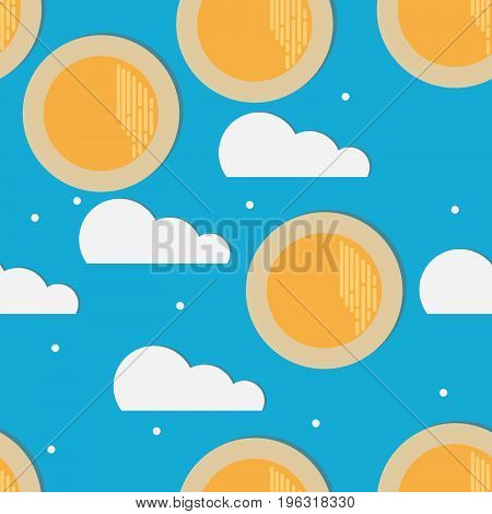 Seamless pattern sun and clouds on blue background with shadow stickers. For children's room wallpaper