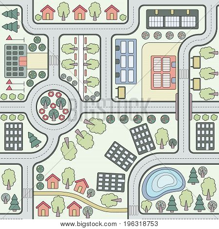 Abstract seamless vector background, pattern, wallpaper, backdrop with houses, roads trees