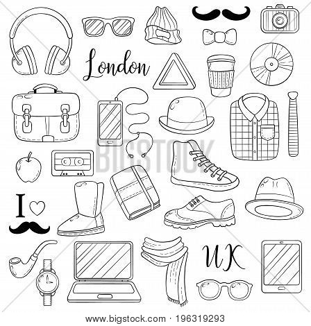 Set of graphic elements icons. Hipster accessories. Doodle cartoon comic background, wallpaper, template, backdrop