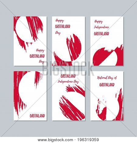 Greenland Patriotic Cards For National Day. Expressive Brush Stroke In National Flag Colors On White