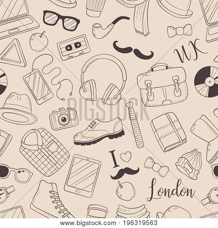 Seamless background, pattern, wallpaper, texture. Template for flyer, advertisement banner Vector Doodle Icons Collection