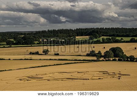 Horizontal color picture of nature,landscape while a cloudy summer day.