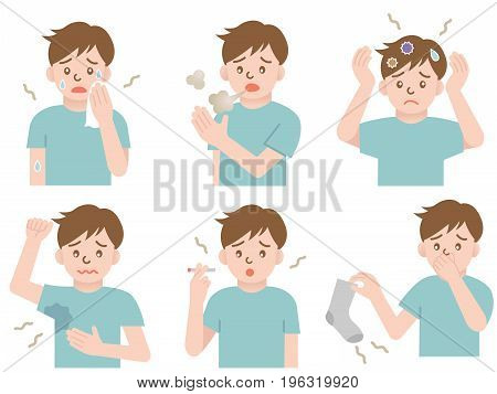 set of body odor: sweat, bad breath, hair, armpits, smoke, and socks