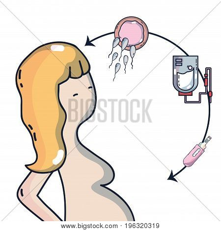 woman pregnancy with ovum and sperm process to procreation vector illustration