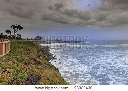 West Cliff Drive Coastline Views on a winter storm. Santa Cruz, California, USA.