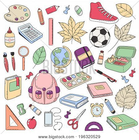 Vector Doodle Icons Collection. School supplies. Back to school, the first day of study