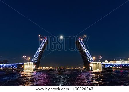 A Palace drawbridge in St Petersburg, Russia