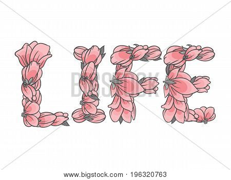 LIFE sign or lettering made with sakura flowers and leaves - floral alphabet letters set, vector design