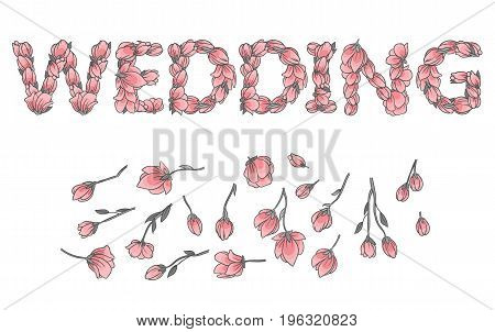 WEDDING sign or lettering made with sakura flowers and leaves - floral alphabet letters set, vector design
