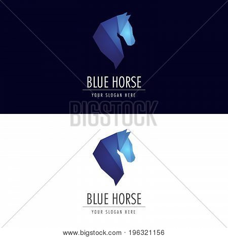 Blue Horse Logo. Logo template for your business