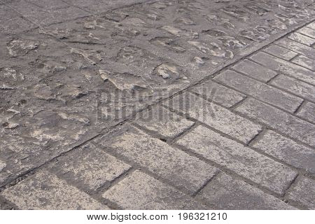 Traditional brick and stone paved street in downtown San Cristobal de las Casas Chiapas Mexico