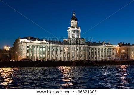 Kunstkammer on the banks of the Neva River in St. Petersburg, Russia