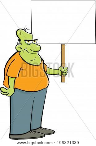 Cartoon illustration of a zombie holding a sign.