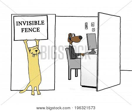 Business cartoon about a worker dog stuck in his cubicle.