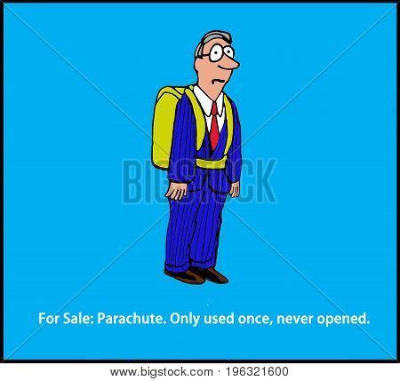Cartoon illustration of a man wearing a parachute and pun about it being 'for sale'.