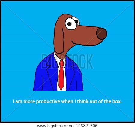 Business cartoon illustration of a worker dog and a pun about thinking 'out of the box'.