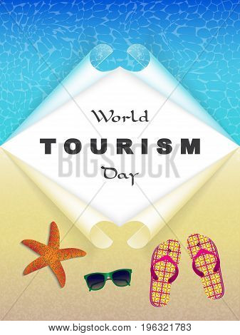 sea and the beach with the words world tourism day