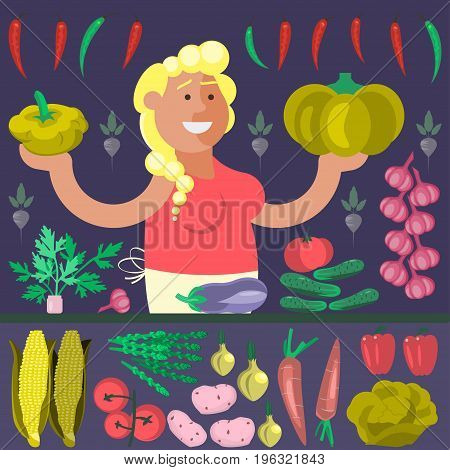 Cartoon character vegetables seller with Zucchini and pumpkin vector illustration
