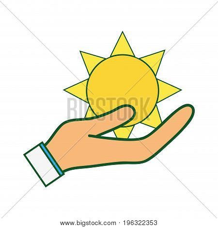 natural sun and normal weather icon in the hand vector illustration