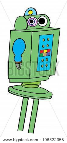 Business cartoon illustration of a robot that has gone haywire.