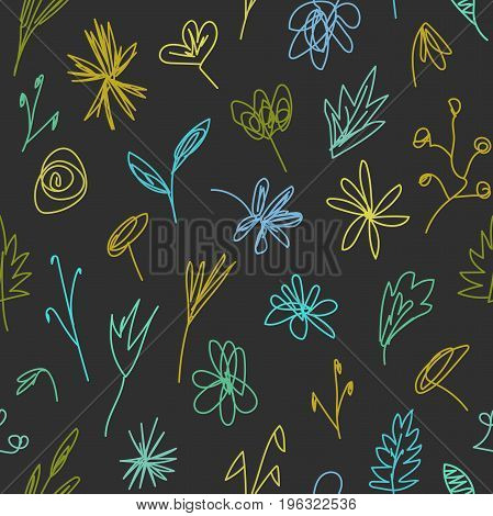 Seamless pattern with abstract imaginary decorative doodle flowers plants leaves grass twigs and branches on black. Night meadow. Dark fairytale garden. Elegant floral background. Surface design.
