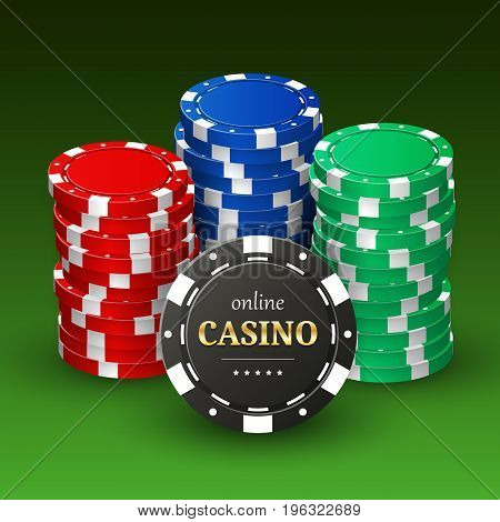 Online casino banner with realistic 3d plastic chips. Gambling concept, poker mobile app icon. Vector design.